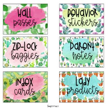 Cactus Teacher Tool Box Editable Labels