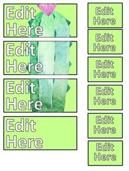 Cactus Teacher Toolbox Labels EDITABLE