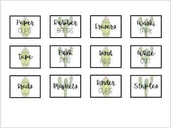 Cactus Teacher Toolbox Labels (Editable!)