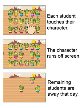 Cactus Theme Attendance with Optional Lunch Count for Interactive Whiteboards
