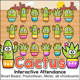 Cactus Theme Smart Board Attendance & Lunch Count for Interactive Whiteboards