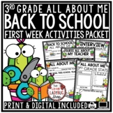 Succulent & Cactus Theme Back To School Activities 3rd Grade All About Me Poster