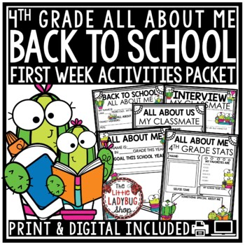 Succulent & Cactus Theme Back To School Activities 4th Grade All About Me Poster