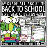 Succulent & Cactus Theme Back To School Activities 5th Grade All About Me Poster