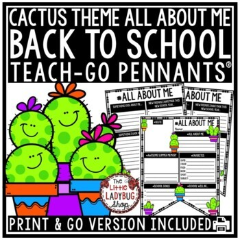 Cactus Theme All About Me Back to School Writing- First Day of School Activity
