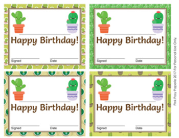 Cactus Theme Birthday Certificates