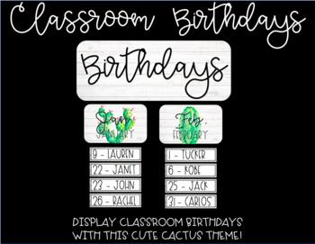 Cactus Theme Birthday Display (EDITABLE)