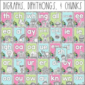 Cactus Classroom Decor Alphabet, Digraphs, Diphthongs & More