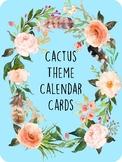 Cactus Theme Classroom Calendar Cards