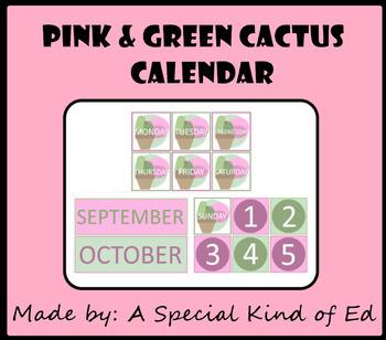 Cactus Theme Classroom Calendar - Pink and Green