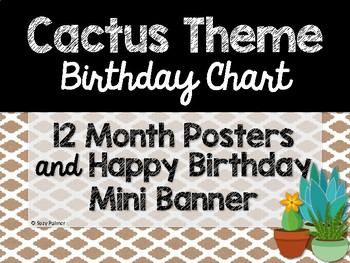 Cactus Theme Classroom Decor Birthday Chart