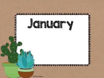 Cactus Theme Classroom Decor: Birthday Chart