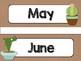Cactus Theme Classroom Decor: Calendar Headers