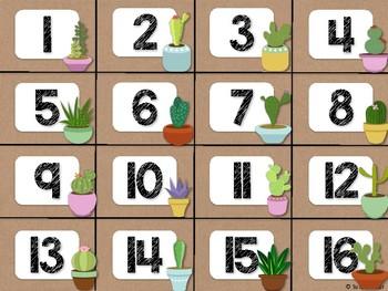 Cactus Theme Classroom Decor: Calendar Numbers