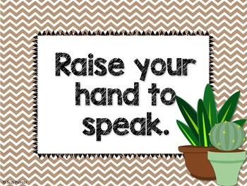 Cactus Theme Classroom Decor: Classroom Rules