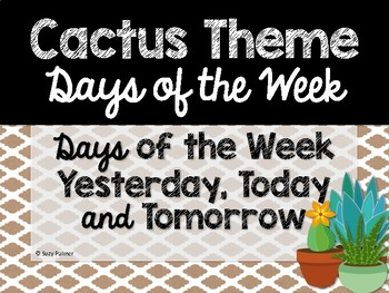 Cactus Theme Classroom Decor: Days of the Week
