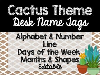Cactus Theme Classroom Decor: Desk Name Tags