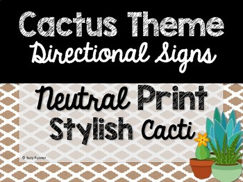Cactus Theme Classroom Decor: Directional Signs