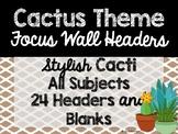 Cactus Theme Classroom Decor: Focus Wall Headers