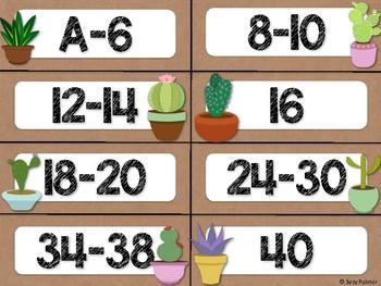 Cactus Theme Classroom Decor: Library Level Labels