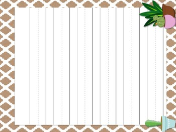 Cactus Theme Classroom Decor: Lined Papers