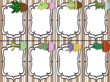 Cactus Theme Classroom Decor: Name Tags