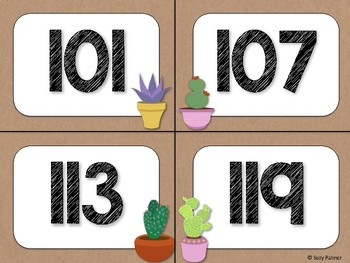 Cactus Theme Classroom Decor: Numbers 101-200