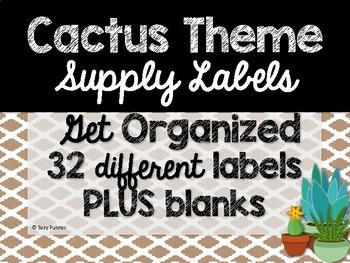 Cactus Theme Classroom Decor: Supply Labels