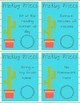 Cactus Theme Classroom Prize Cards