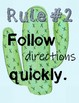 Cactus Theme Classroom Rules