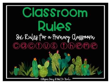 Cactus Theme Classroom Rules Mini Posters
