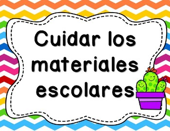Cactus Theme Classroom Rules in Spanish