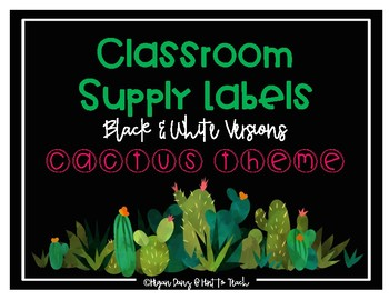 Cactus Theme Classroom Supply Labels