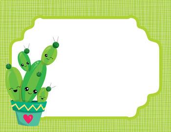 Cactus Theme Clip Chart *editable*