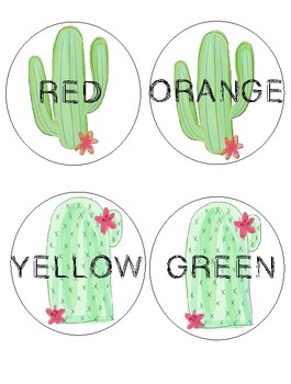 Cactus Theme Color and Supply Labels