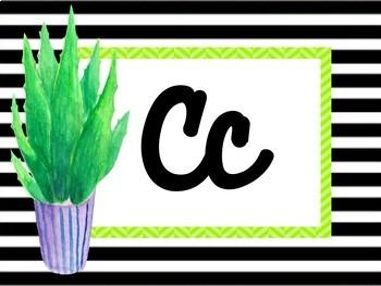 Cactus Theme Cursive Alphabet Posters