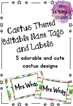 Cactus Theme Editable Name Tags and Labels