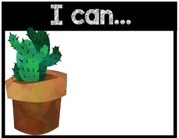 Cactus Theme I Can Objective Signs and Subject Signs
