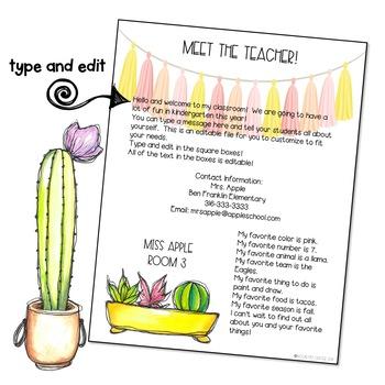 Cactus Theme Meet the Teacher EDITABLE Templates
