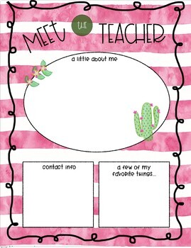 Cactus Theme Meet the Teacher Template