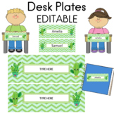 Cactus Theme Name Plates Desk Plates EDITABLE