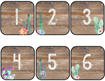 Cactus Theme Number Labels