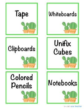 Cactus Theme Supply Bin Labels