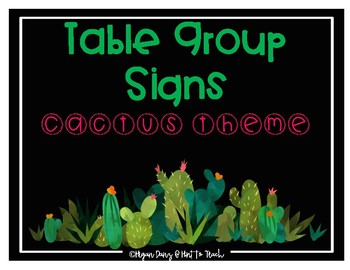 Cactus Theme Table Group Signs