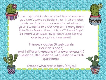 Cactus Theme Task Cards Template