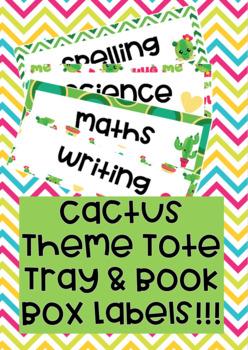 Cactus Theme Tote Tray & Book Box Labels editable
