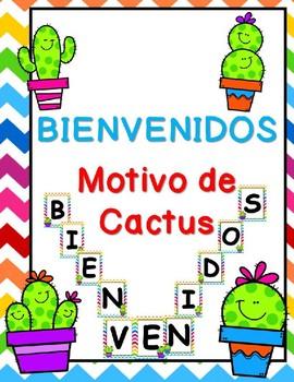 Cactus Theme Welcome Sign in Spanish - Bienvenidos