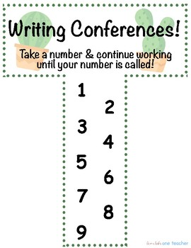 Cactus Theme Writing Conference Clipchart