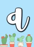 Cactus Themed Alphabet- Cursive