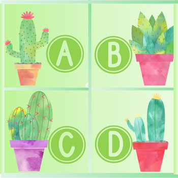 Cactus-Themed Book Bin Labels